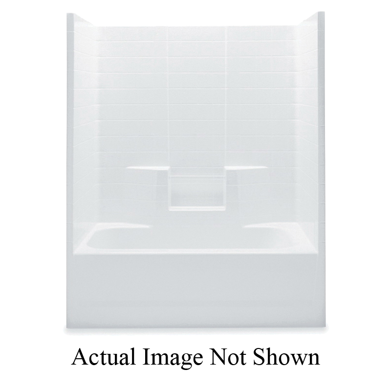 Aquatic 2603CTWMR-WH Everyday Tub Shower, 60 in W x 75 in H, Gel-Coated/White, Domestic