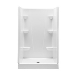 Aquatic 4834CPAN-WH Everyday 1-Piece Shower Pan, 48 in W x 34 in D, Center Drain, Domestic