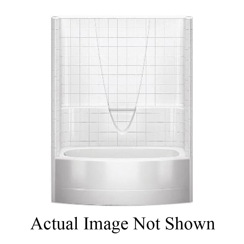 Aquatic 6036BSTMR-WH Everyday 1-Piece Integral Bowed Skirted Tub Shower, 60 in W x 71-3/4 in H, Gel-Coated/White, Domestic