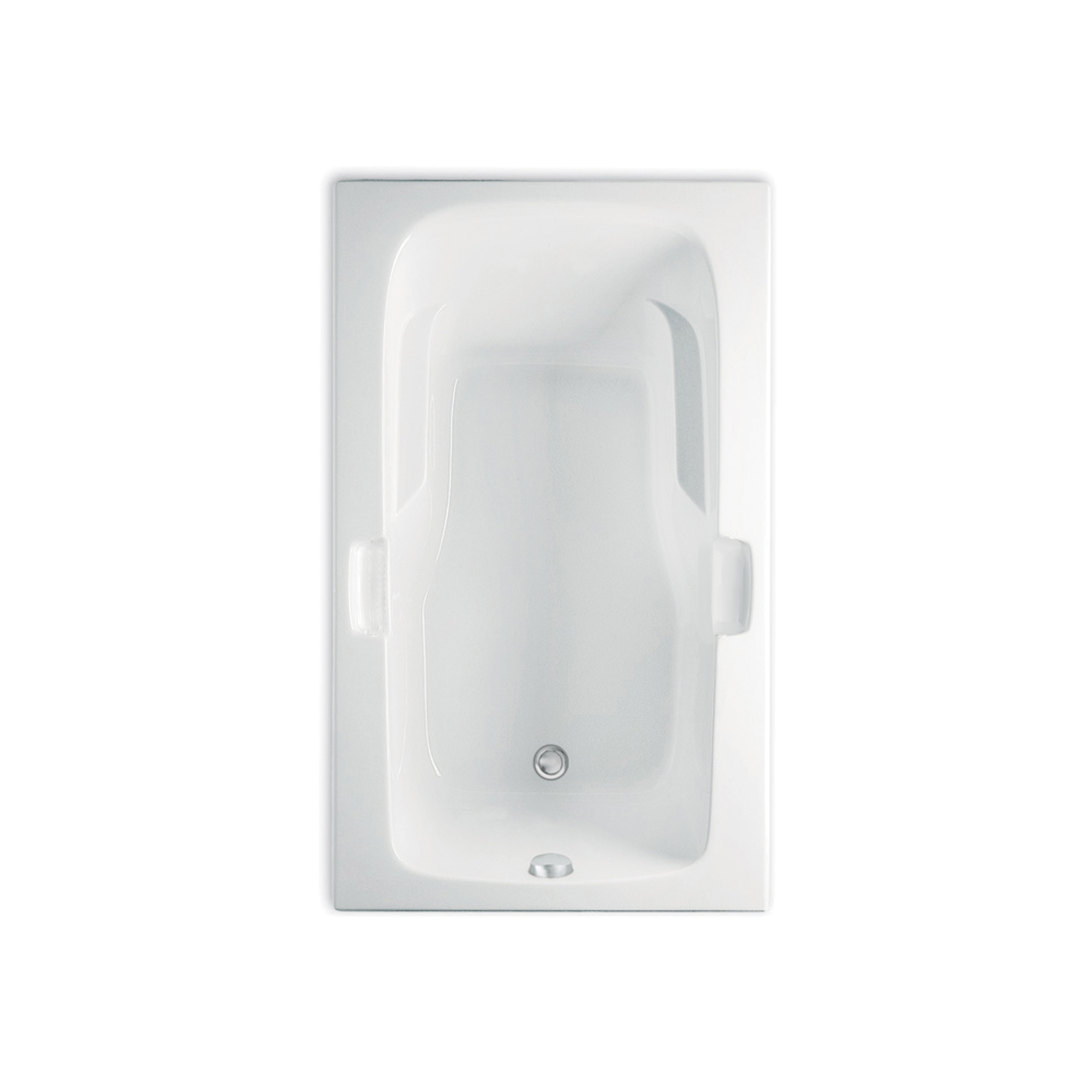 Aquatic Montrose II Element 4272620V-WH Builders Choice Soaking Bathtub, 72 in L x 36 in W, Universal Drain, White