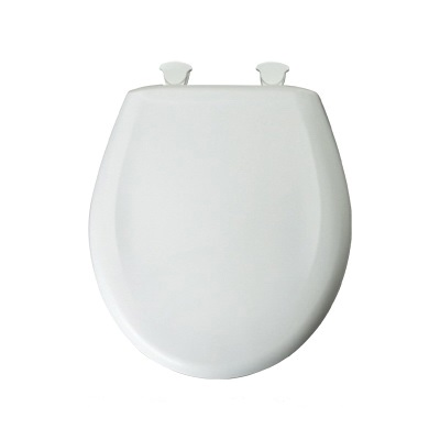 Bemis® 200SLOWT Toilet Seat With Cover, Round Bowl, Closed Front, Plastic, White, Easy Clean & Change® Hinge, Domestic