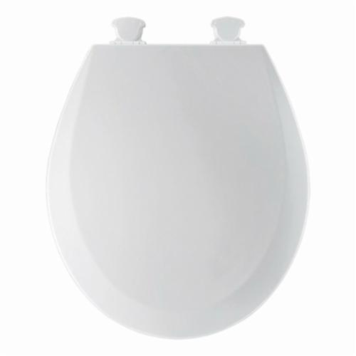 Bemis® 500EC000 Heavy Duty Toilet Seat, Round Bowl, Closed Front, Molded Wood, White, Quick Twist-To-Lock Hinge, Domestic