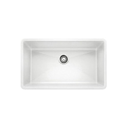 Blanco 440150 PRECIS™ SILGRANIT® II Kitchen Sink, Rectangular, 32 in W x 19 in D, Under Mount, Solid Granite, White, Import