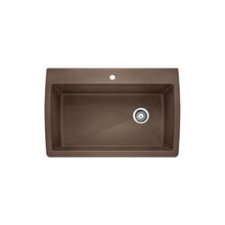 Blanco 440192 DIAMOND™ SILGRANIT® II Kitchen Sink, Rectangular, 1 Faucet Hole, 32-1/2 in W x 22 in D, Drop-In Mount, Granite Composite, Cafe Brown, Import