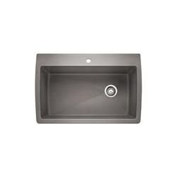 Blanco 440193 DIAMOND™ SILGRANIT® II Kitchen Sink, Rectangular, 1 Faucet Hole, 32-1/2 in W x 22 in D, Drop-In Mount, Granite Composite, Metallic Gray, Domestic
