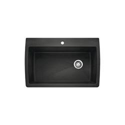Blanco 440194 DIAMOND™ SILGRANIT® II Kitchen Sink, Rectangular, 1 Faucet Hole, 32-1/2 in W x 22 in D, Drop-In Mount, Granite Composite, Anthracite, Import