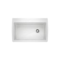 Blanco 440195 DIAMOND™ SILGRANIT® II Kitchen Sink, Rectangular, 1 Faucet Hole, 32-1/2 in W x 22 in D, Drop-In Mount, Granite Composite, White, Import