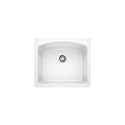 Blanco 440211 DIAMOND™ SILGRANIT® II Kitchen Sink, Square, 1 Faucet Hole, 25 in W x 22 in D, Drop-In Mount, Granite Composite, White, Import