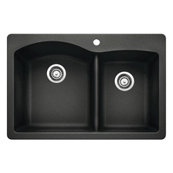 Blanco 440215 DIAMOND™ SILGRANIT® II Kitchen Sink, Rectangular, 1 Faucet Hole, 33 in W x 22 in D, Drop-In Mount, Granite Composite, Anthracite, Import