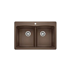 Blanco 440218 DIAMOND™ SILGRANIT® II Kitchen Sink With Ledge, Rectangular, 1 Faucet Hole, 33 in W x 22 in D, Drop-In Mount, Granite Composite, Cafe Brown, Domestic