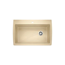 Blanco 441214 DIAMOND™ SILGRANIT® II Kitchen Sink, Rectangular, 1 Faucet Hole, 32-1/2 in W x 22 in D, Drop-In Mount, Granite Composite, Biscotti, Import