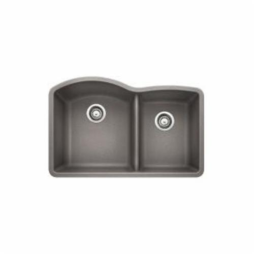 Blanco 441592 DIAMOND™ SILGRANIT® II Kitchen Sink, 32 in W x 20-27/32 in D, Under Mount, Solid Granite, Metallic Gray