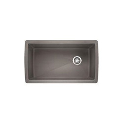 Blanco 441770 DIAMOND™ SILGRANIT® II Kitchen Sink, Rectangular, 33-1/2 in W x 18-1/2 in D, Under Mount, Solid Granite, Metallic Gray