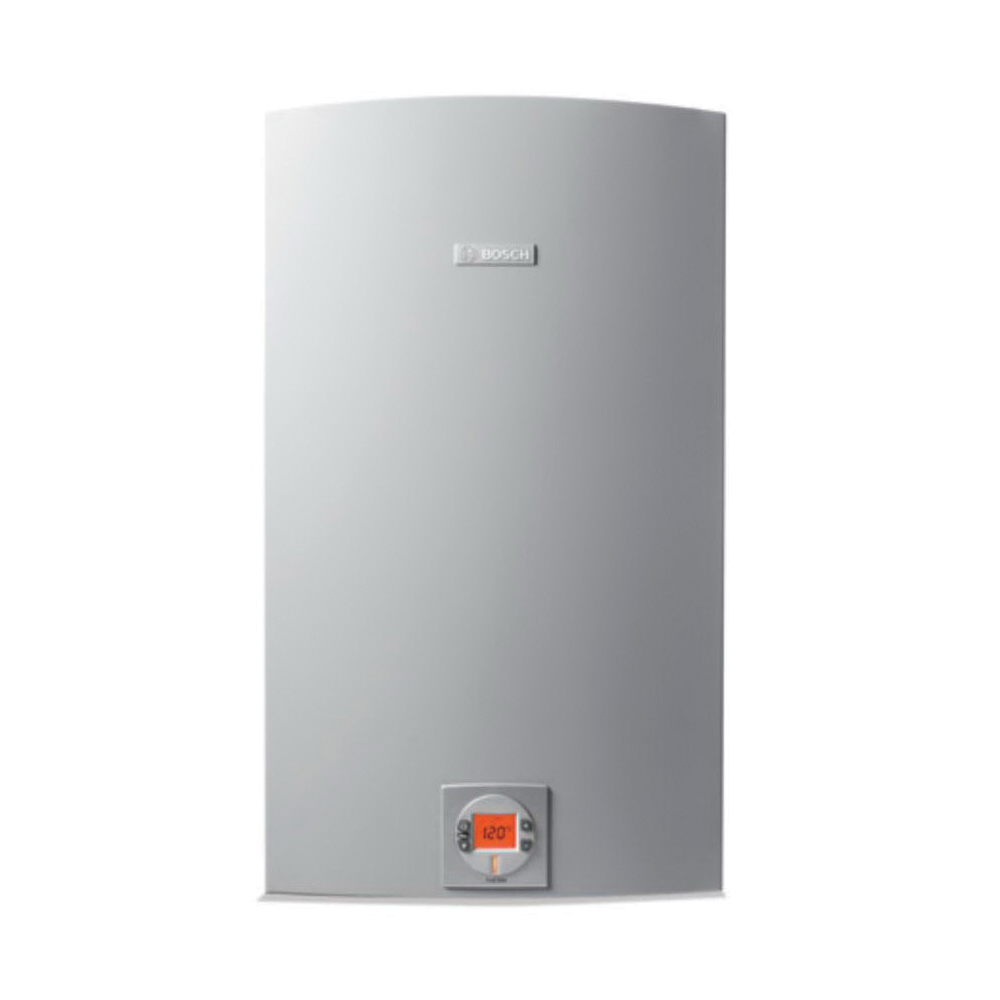 Bosch C 1050 ES LP Greentherm Tankless Gas Water Heater, Liquid Propane Fuel, 199000 Btu/hr Heating, Indoor/Outdoor: Indoor or Outdoor, Condensing/Non Condensing: Condensing, 0.5 gpm, Concentric Vent, 0.94, Commercial/Residential/Dual: Dual