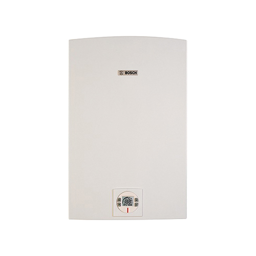 Bosch C 1210 ES LP Therm Tankless Gas Water Heater, Liquid Propane Fuel, 225000 Btu/hr Heating, Indoor/Outdoor: Indoor or Outdoor, Condensing/Non Condensing: Condensing, 0.5 gpm, Direct Vent, 0.98, Commercial/Residential/Dual: Dual, Ultra Low NOx: No