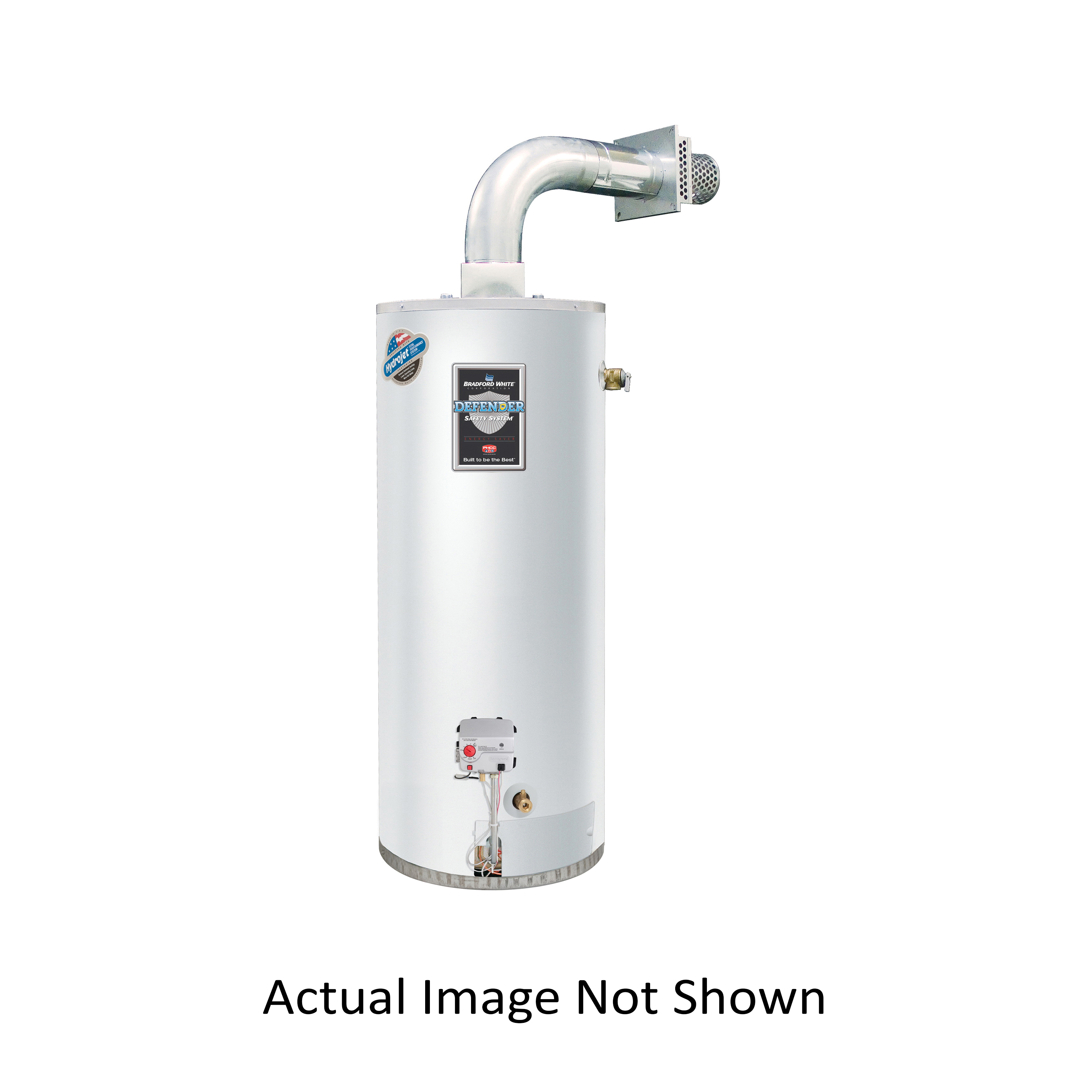 Bradford White® Defender Safety System® RG2DV50S6N-FLX Gas Water Heater, 42000 Btu/hr Heating, 50 gal Tank, Natural Gas Fuel, Direct Vent, 45 gph at 90 deg F Recovery, Ultra Low NOx: No, Domestic
