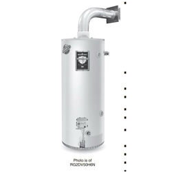 Bradford White® Defender Safety System® RG2DV50S6N-SLD Gas Water Heater, 42000 Btu/hr Heating, 50 gal Tank, Natural Gas Fuel, Direct Vent, 45 gph at 90 deg F Recovery, Ultra Low NOx: No, Domestic