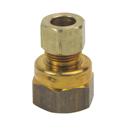 BrassCraft® 66-6-8X Tube Reducing Adapter, 3/8 x 1/2 in, Compression x FNPT, Brass, Domestic