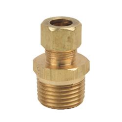 BrassCraft® 68-6-8X Pipe Reducer Adapter, 3/8 x 1/2 in, Compression x MNPT, Brass, Rough Brass
