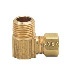 BrassCraft® 69-6-6X Tube Elbow, 3/8 in, Compression x MNPT, Brass, Domestic