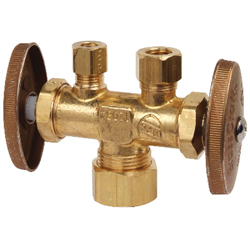 BrassCraft® CR1900DVSX R Multi-Turn Dual Outlet/Dual-Shut-Off Straight Stop, 1/2 x 3/8 x 1/4 in, Compression, 125 psi, Brass Body, Domestic