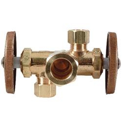 BrassCraft® CR1901DVX R Multi-Turn Dual Outlet/Dual-Shut-Off Angle Stop, 1/2 x 3/8 x 3/8 in, Compression, 125 psi, Brass Body, Domestic