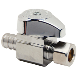 BrassCraft® G2BRPX14X C G2™ 1/4 Turn Straight Stop, 1/2 x 3/8 in, PEX Crimp Barb x Compression, 125 psi, Brass Body, Domestic