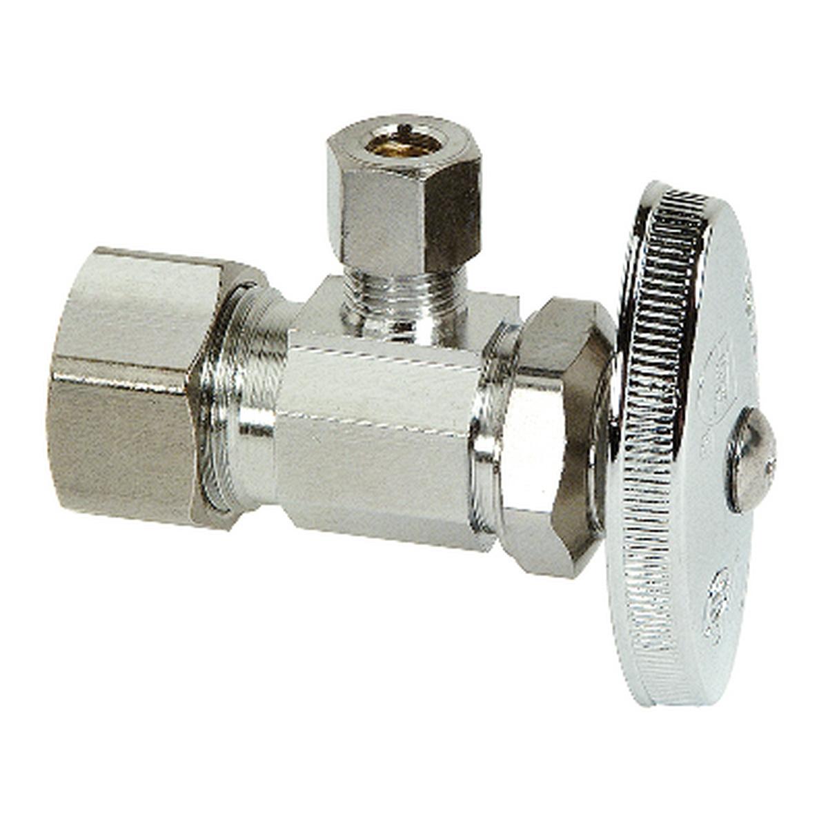 BrassCraft® OCR1BX Multi-Turn Lead Free Angle Stop, 1/2 x 1/4 in, Compression, 125 psi, Brass, Domestic