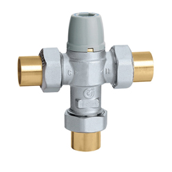 Caleffi 521342A 3-Way Scald Protection Point-of-Use Thermostatic Mixing Valve With Check Valve, 1/2 in, MNPT, 150 psi, 85 to 120 deg F, Brass