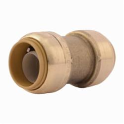Sharkbite® U016LF Straight Pipe Coupling, 3/4 in, Push-Fit, Brass, Natural Brass/Chrome Plated, Import