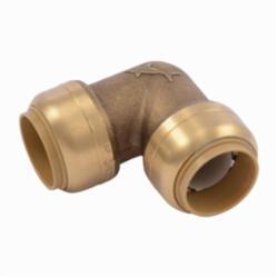 Sharkbite® U256LF 90 deg Pipe Elbow, 3/4 in, Push-Fit, Brass, Natural Brass/Chrome Plated, Import
