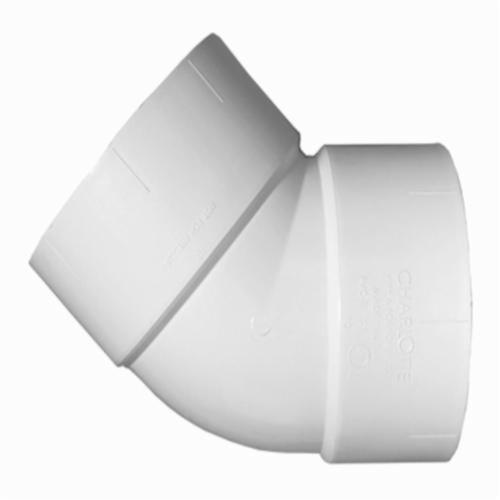 Charlotte PVC 00321 0800 Pipe 1/8 Bend, 1-1/2 in, Hub, SCH 40/STD, PVC, Domestic