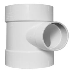 Charlotte PVC 00445 1400 DWV Flush Cleanout Tee, 6 in, Hub x Hub x FNPT, SCH 40/STD, PVC, Domestic