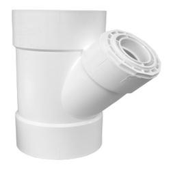Charlotte PVC 00601 2600 45 deg DWV Reducing Wye, 8 x 8 x 6 in, Hub, SCH 40/STD, PVC, Domestic