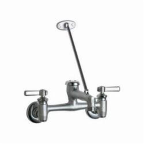 Chicago Faucet® 897-MPRCF Hot and Cold Water Sink Faucet, 7-5/8 to 8-3/8 in Center, Chrome Plated, 2 Handles, Wall Mount, Domestic, Commercial