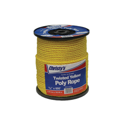 Christy's® 2852 Twisted Rope, 1/4 in Dia x 600 ft, Poly, Yellow