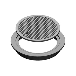 D&L Supply Company B-5024 Heavy Duty Water Manhole Ring and Cover With Neptune Touch-Read Hole, 24 in OD x 22-1/2 in ID x 3 in H, Cast Iron
