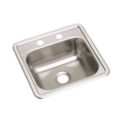Elkay® D115152 Dayton® Bar Sink, Square, 2 Faucet Holes, 15 in W x 5-3/16 in D x 15 in H, Top Mount, Stainless Steel, Satin, Domestic