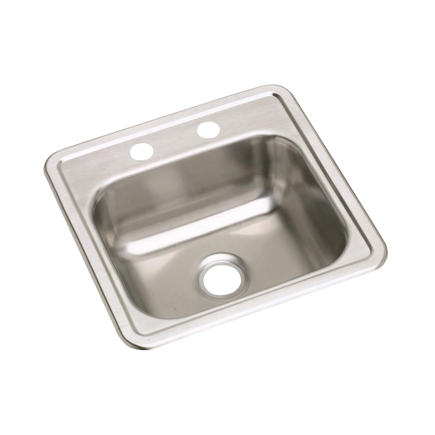 Elkay® D115151 Dayton® Bar Sink, Square, 1 Faucet Hole, 15 in W x 5-3/16 in D x 15 in H, Top Mount, Stainless Steel, Satin, Domestic