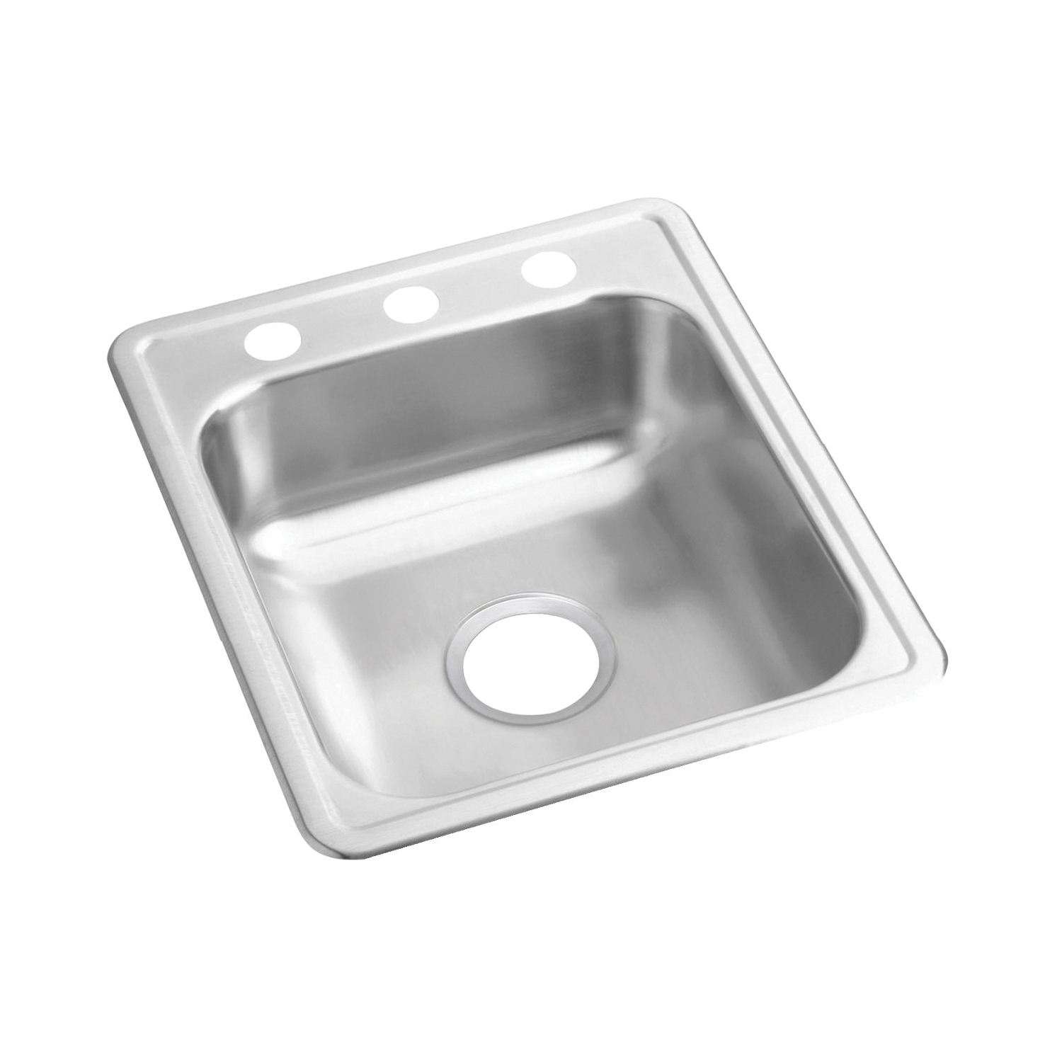 Elkay® D117212 Dayton® Bar Sink, Rectangular, 2 Faucet Holes, 17 in W x 21-1/4 in D x 6-1/2 in H, Top Mount, Stainless Steel, Satin, Domestic