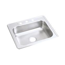 Elkay® D125211 Kitchen Sink, Dayton®, Rectangular, 21 in L x 15-3/4 in W x 6-3/8 in D Bowl, 1 Faucet Hole, 25 in L x 21-1/4 in W x 6-9/16 in H, Top Mount, Stainless Steel, Satin