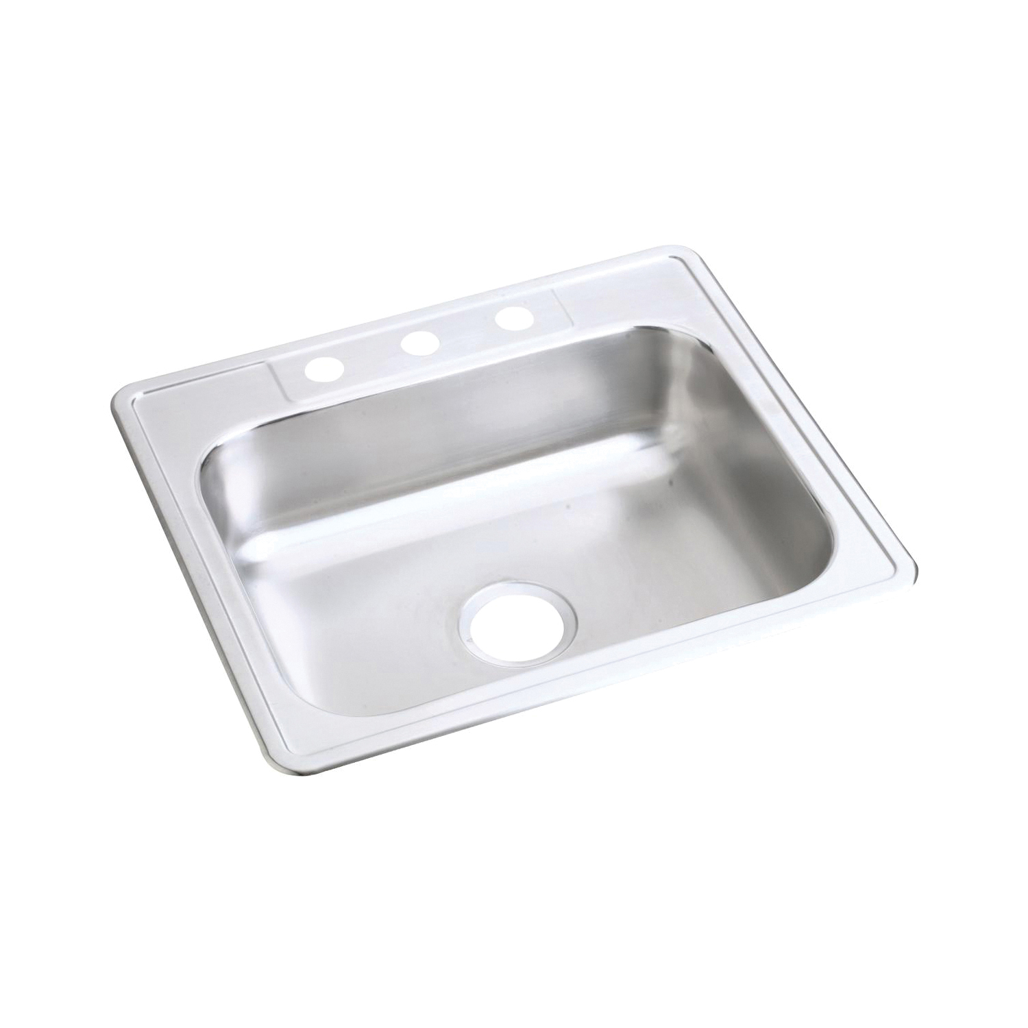 Elkay® D125223 Dayton® Kitchen Sink, Rectangular, 3 Faucet Holes, 25 in W x 22 in D x 6-9/16 in H, Top Mount, Stainless Steel, Satin, Domestic