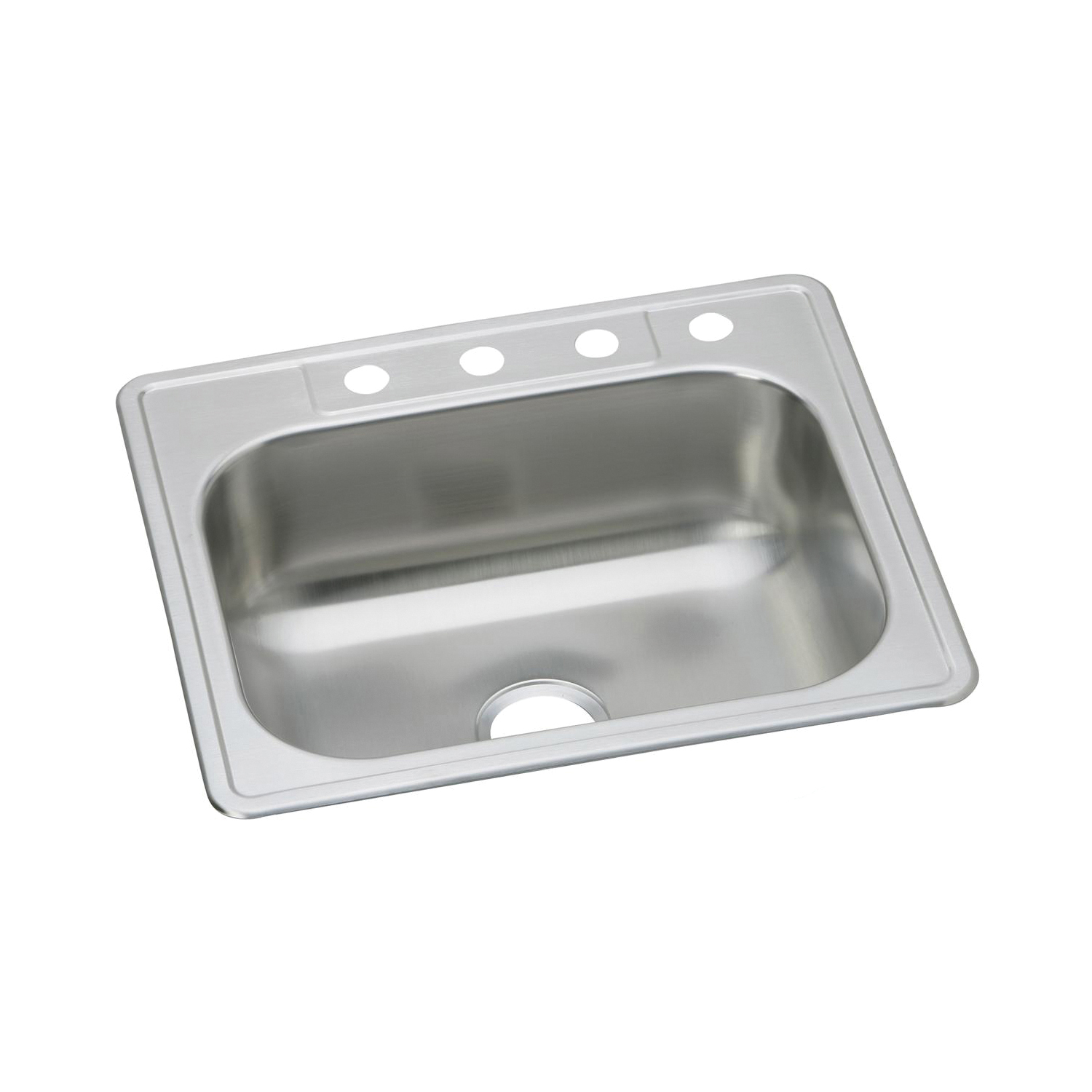 Elkay® DSE125224 Dayton® Kitchen Sink, Rectangular, 4 Faucet Holes, 25 in W x 22 in D x 8-1/16 in H, Top Mount, Stainless Steel, Elite Satin, Domestic