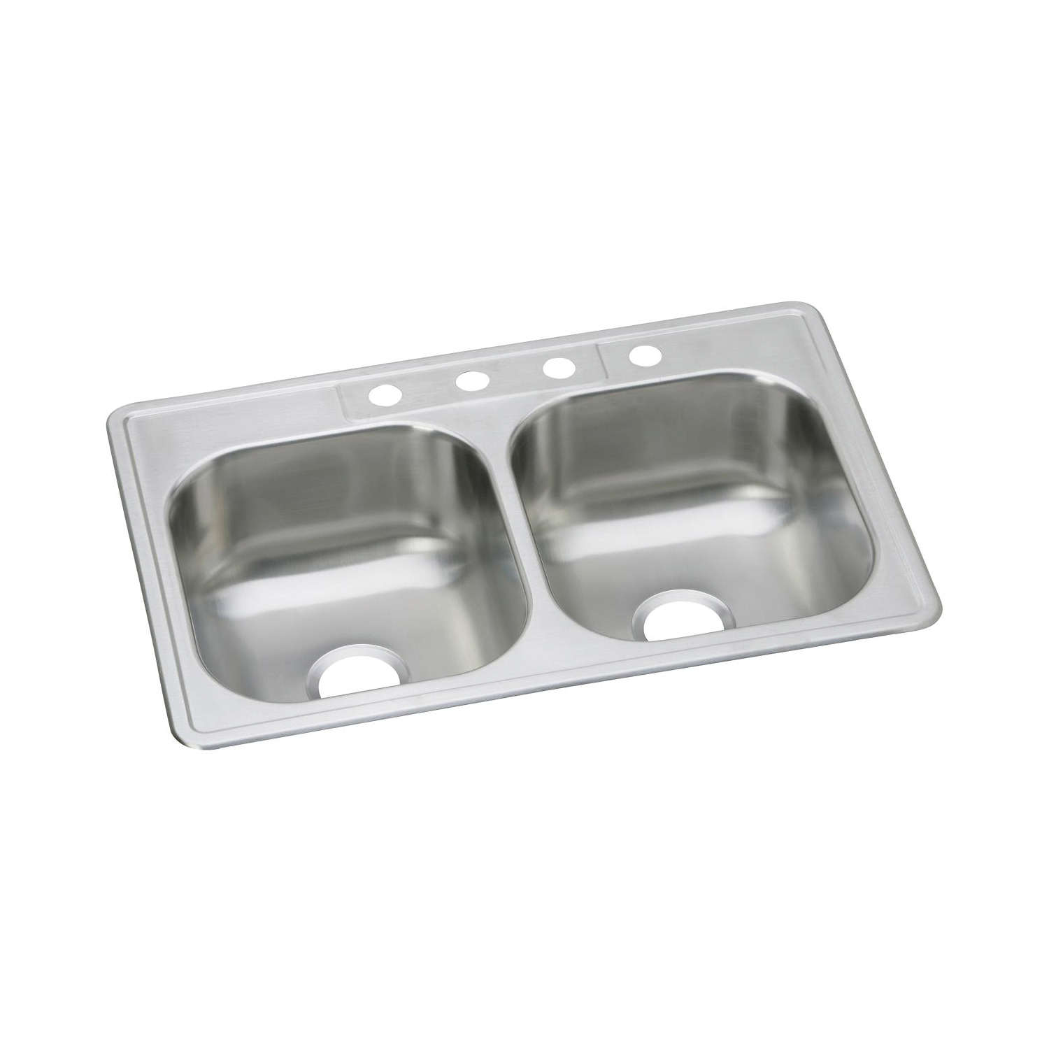 Elkay® DSE233223 Dayton® Kitchen Sink, Rectangular, 3 Faucet Holes, 33 in W x 22 in D x 8-1/16 in H, Top Mount, Stainless Steel, Stainless Steel, Domestic
