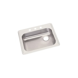 Elkay® GE12521R3 Dayton® Kitchen Sink, Rectangular, 3 Faucet Holes, 25 in W x 21-1/4 in D x 5-3/8 in H, Top Mount, Stainless Steel, Satin, Domestic