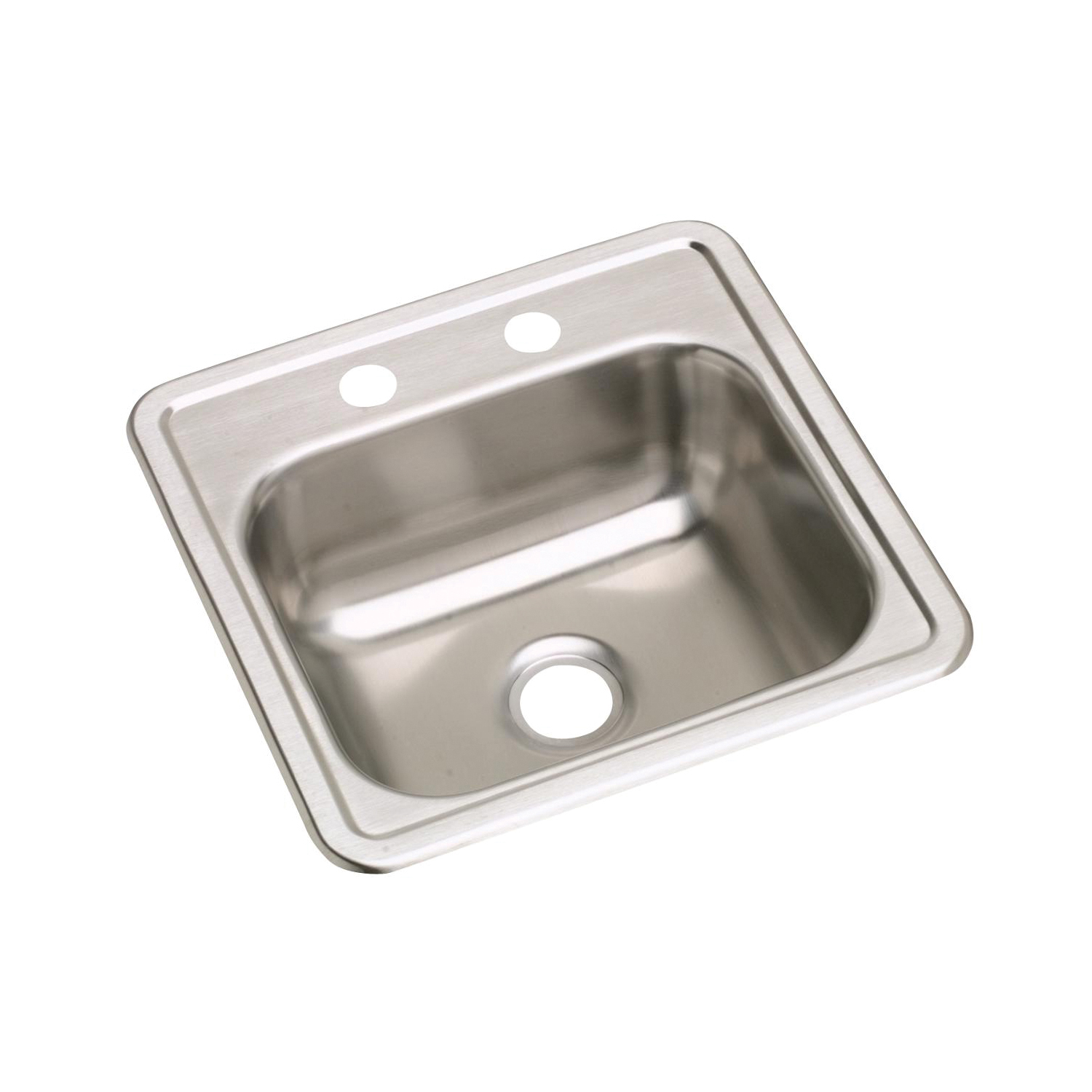 Elkay® K115152 Dayton® Bar Sink, Square, 2 Faucet Holes, 15 in W x 15 in D x 5-3/16 in H, Top Mount, Stainless Steel, Satin, Domestic