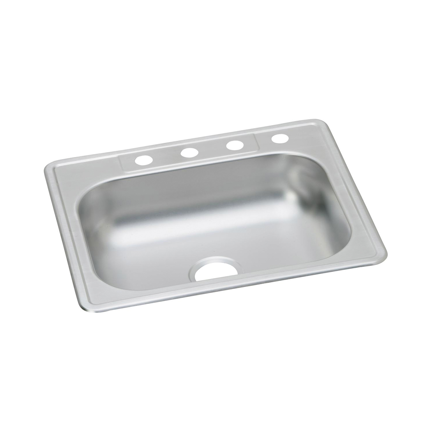 Elkay® K125223 Dayton® Kitchen Sink, Rectangular, 3 Faucet Holes, 25 in W x 22 in D x 6-1/16 in H, Top Mount, Stainless Steel, Satin, Domestic