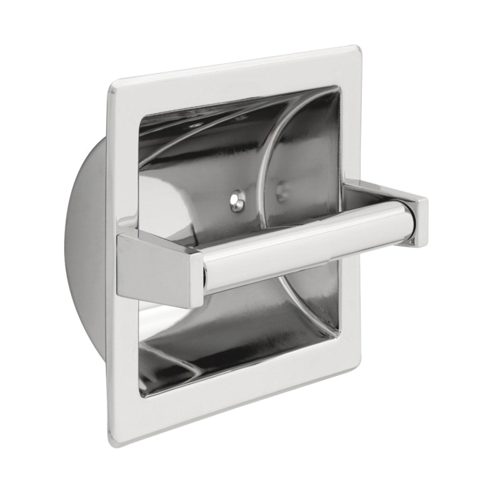 DELTA® 45072 Horizontal Recessed Paper Holder With Brass Roller, 6-9/32 in, Metal, Chrome, Import