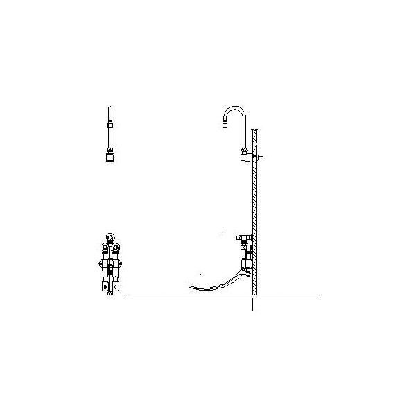DELTA® 54T5323A Double-Pedal Surgeon Scrub-Up Valve With Vandal Resistant Locking Lug, 1.5 gpm, Chrome Plated, Import, Commercial