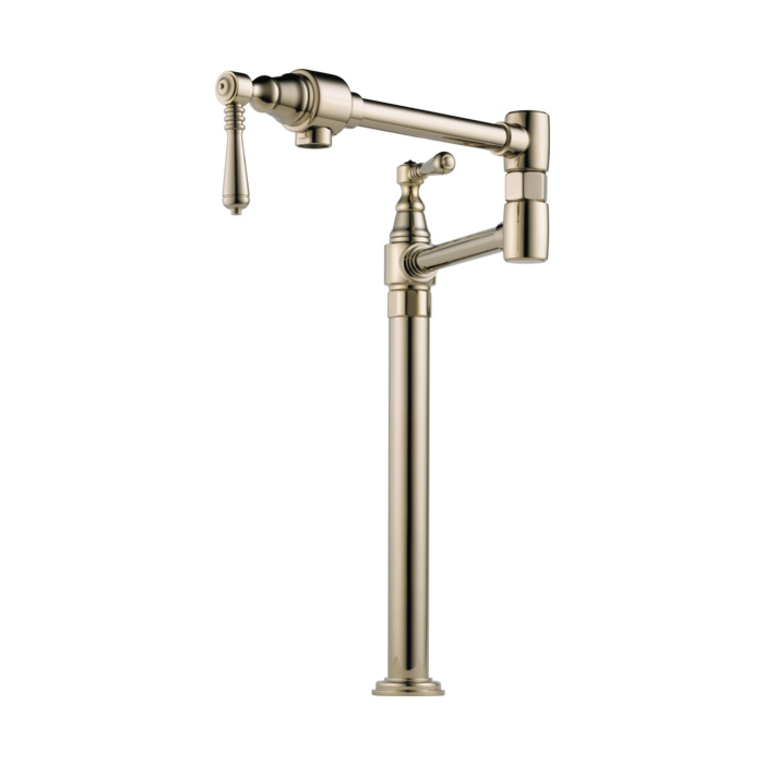 Brizo® 62710LF-PN Traditional Pot Filler Faucet, 4 gpm, Polished Nickel, 2 Handles, Import, Commercial